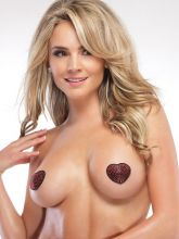 Coquette: Heart Pasties, rot/schwarz (One Size)
